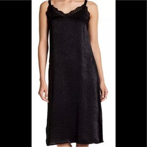 Bobeau little black dress Satin Lace Trim Slip S